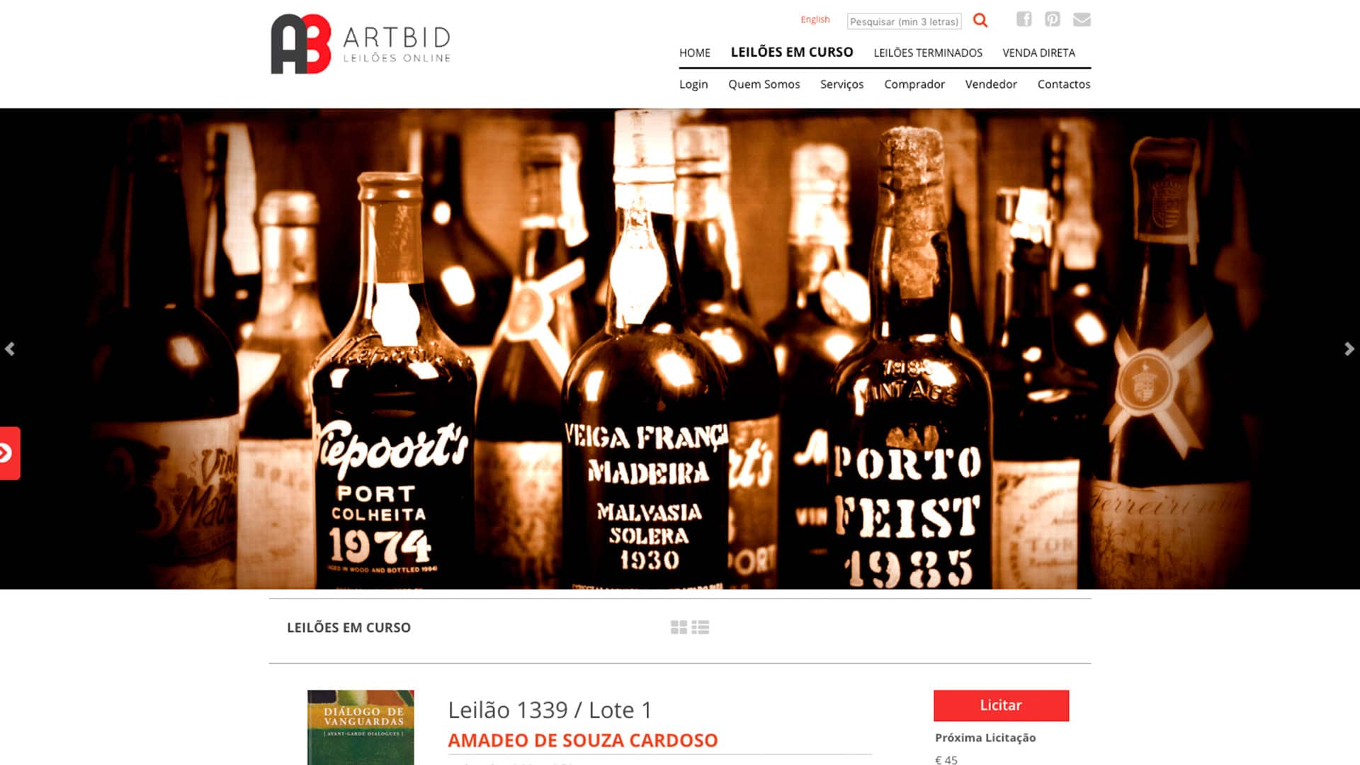 Artbid homepage