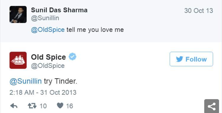 resposta da old spice no twitter ao seguidor