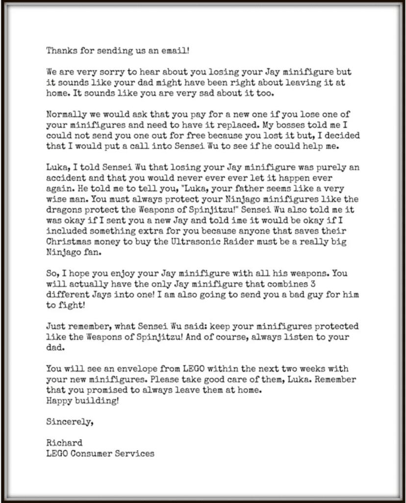 carta da lego para uma criança