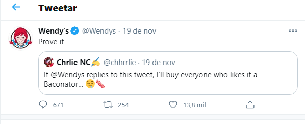 resposta da wendys no twitter ao seguidor