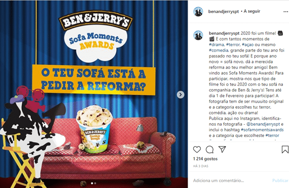 Página do Facebook da marca Ben & Jerry's