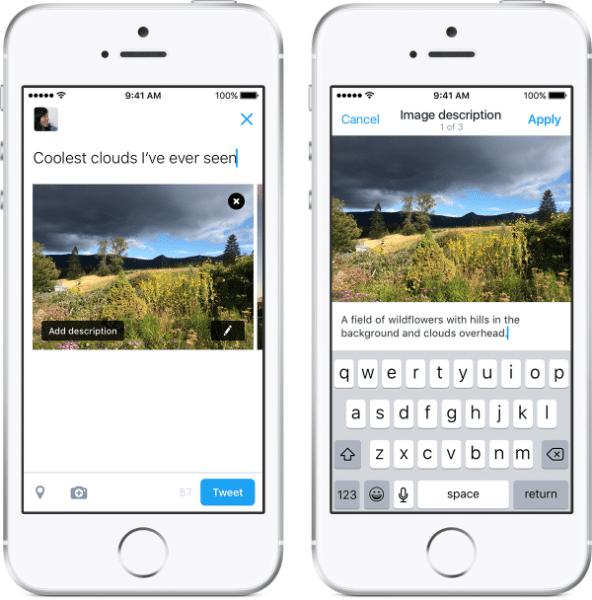 smartphone com a descrição do twitter