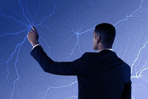 animação com homem a tocar no sistema nervoso